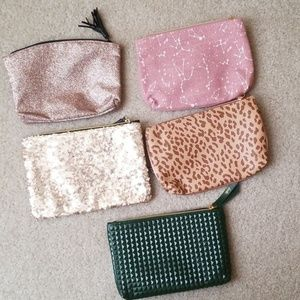 Lot of 5 ipsy cosmetic bags.